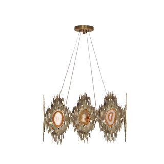 KoKet Vivre Round Chandelier With Agate Stone For Sale