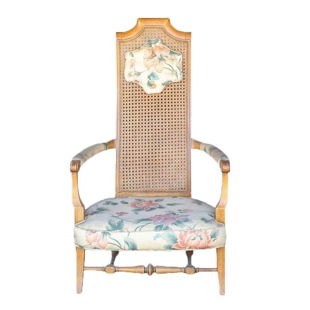 1920s Folk Art Blonde Cane Back Floral Print Armchair For Sale
