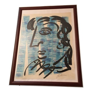 Peter Keil Large Cubist Profile Abstract Painting 70s For Sale
