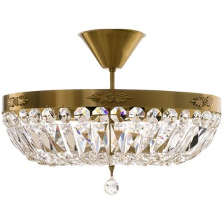 Brass Plafond Crystal Chandelier For Sale