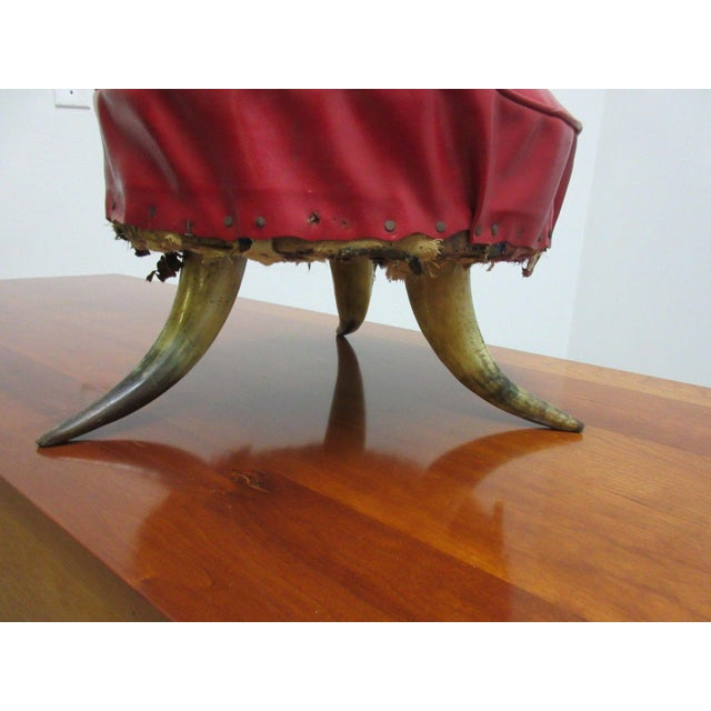 Red Antique Steer Cow Horn Footstool For Sale - Image 8 of 9