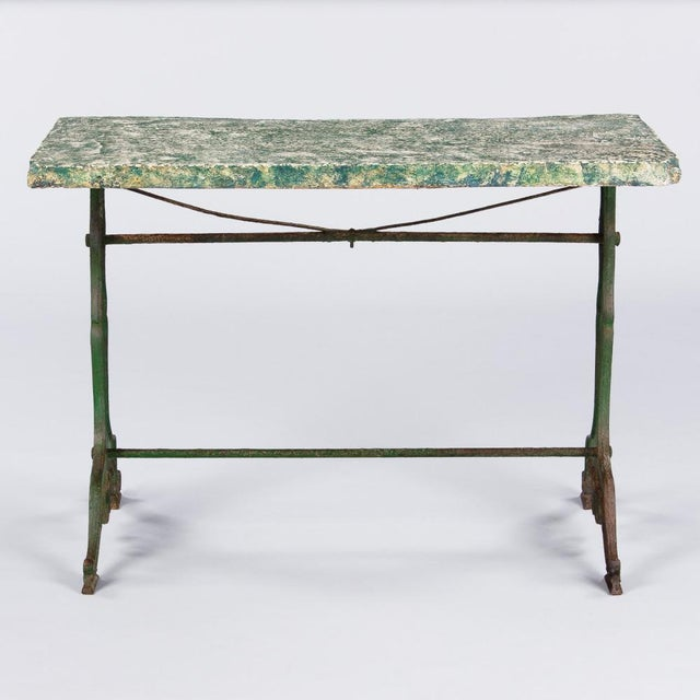 Late 1800s French Concrete Top Garden Table with Cast Iron Base - Image 3 of 11