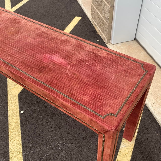 1970s 1970s Distressed Velvet Nailhead Parsons Console Table For Sale - Image 5 of 13