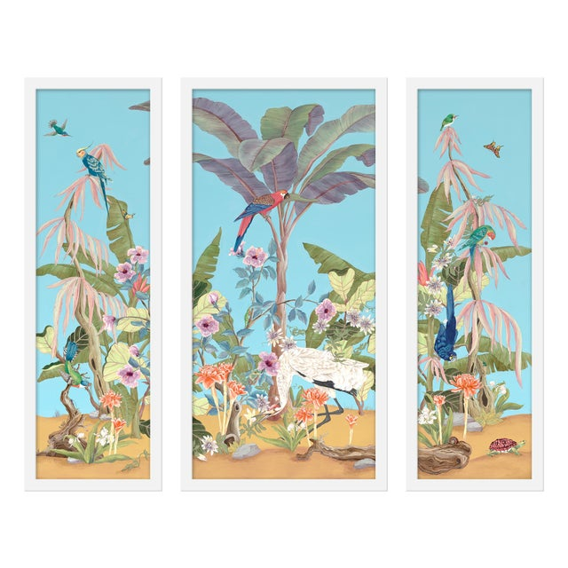 """Contemporary Large """"Palm Beach Paradise, 3 Panels"""" Print by Allison Cosmos, 47"""" X 40"""" For Sale - Image 3 of 3"""