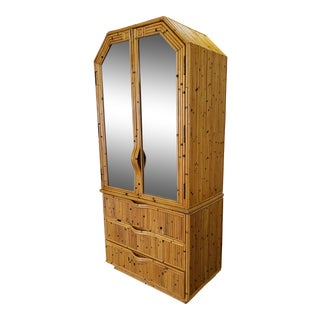 Vintage Bamboo Mirrored Armoire For Sale