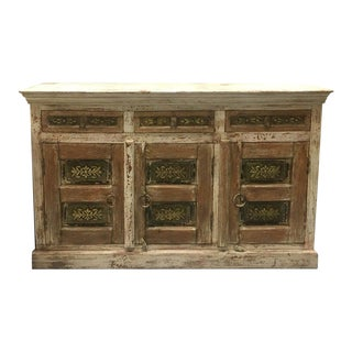 """Asian Style Wide Sideboard With Three Drawers Inset Brass Molded Detail - 59"""" For Sale"""