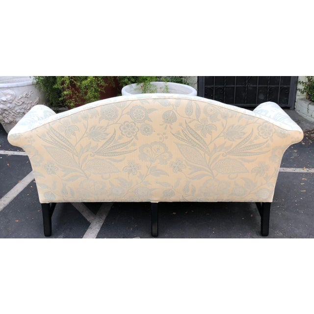 Antique Chinese Chippendale Camelback Sofa Settee Black Lacquer Frame & Down Cushion.