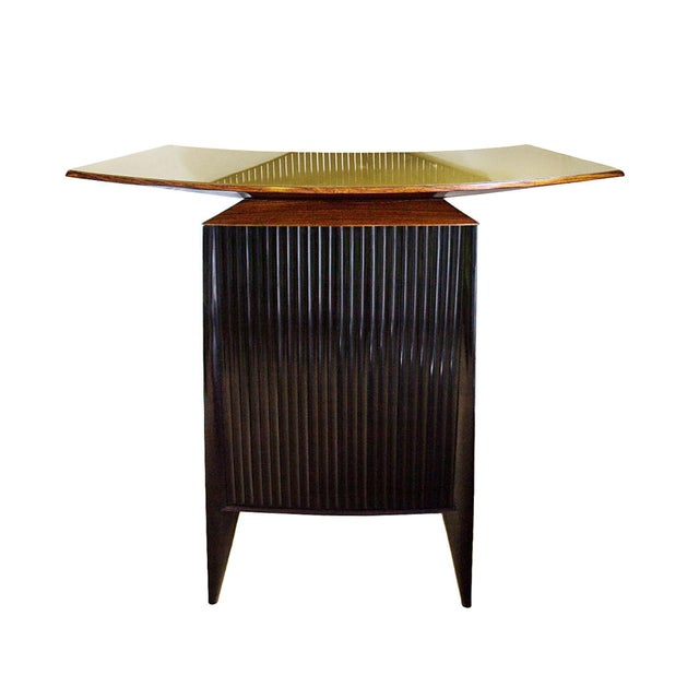 Wood 1950s Bar Counter and Vitrine, Mahogany, Sycamore, Golden Glass, Italy For Sale - Image 7 of 13