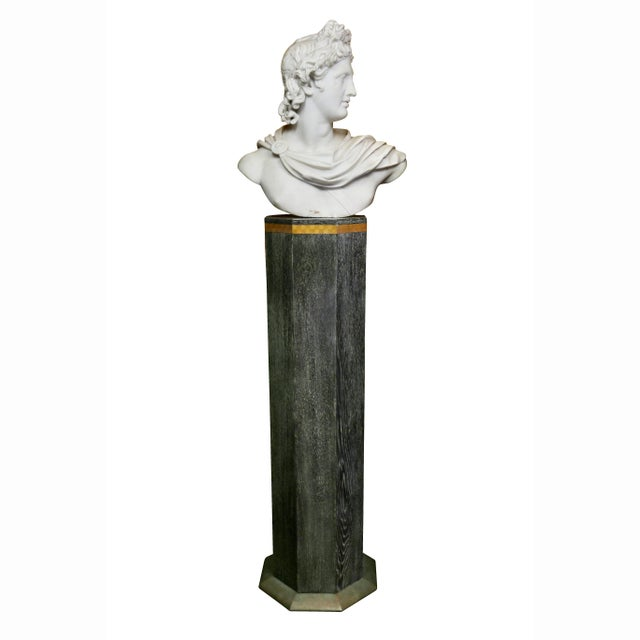 Italian White Marble Bust of Apollo Belvedere With Bauhaus Design Pedestal Base For Sale - Image 4 of 9