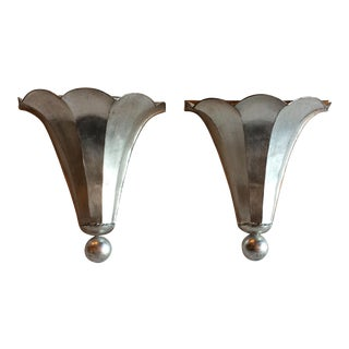 Silver Leaf Sconces - Pair For Sale