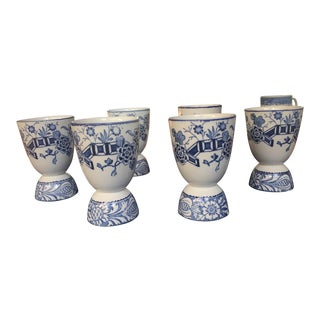 Woods Ware Blue & White Egg Cups - Set of 6