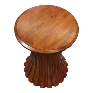 Global Views Round Wood Occasional Table