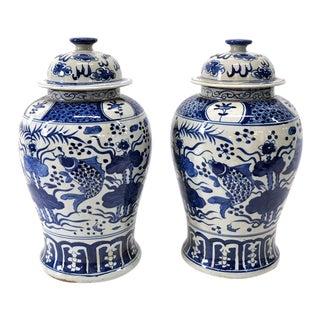 Blue and White Koi Fish Jars - A Pair