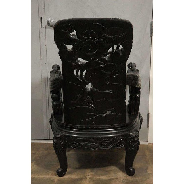 Chinese Arm Chair with Carved Foo Dogs, Fish and Flora For Sale In Los Angeles - Image 6 of 7