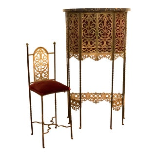 1920s Art Deco Bronze and Marble Telephone Stand With Chair - 2 Pieces For Sale