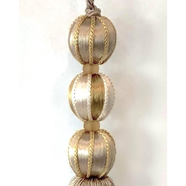 Boho Chic Merrivale Tall Gold Beaded Key Tassel- H 7.5 Inches For Sale - Image 3 of 7