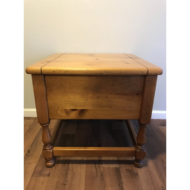 Antique Ethan Allen Antiqued Pine Nightstand For Sale - Image 4 of 6