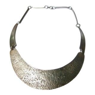 English Modernist Brutalist Style Sterling Choker Necklace For Sale