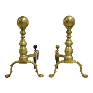 Brass Cannonball Andirons, Pair For Sale