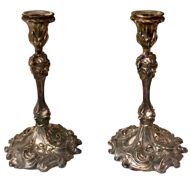 Late 19th Century Circa 1880s French Rococo Silverplate Candle Holders- a Pair For Sale - Image 5 of 5