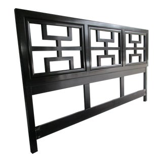 Century Furniture Chin Hua Black Lacquer King-Sized Headboard For Sale
