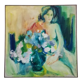 1965 AbstractStill Life Figural Paining of Female with Flowers by Buckley