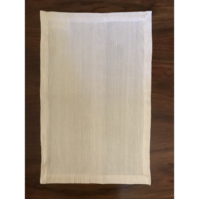 Antique Williams Sonoma Off-White Silk Dupioni Eight Placemats & Table Runner - 9 Pc. Set For Sale - Image 9 of 11