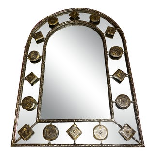 Holly Hunt Rustic Hammered Iron Decorative Mirror For Sale