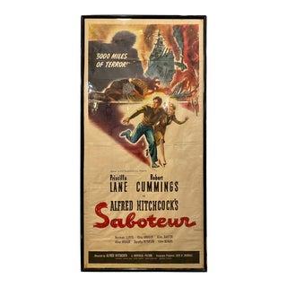Original Alfred Hitchcock Movie Poster Saboteur Morgan Litho Corp Framed For Sale