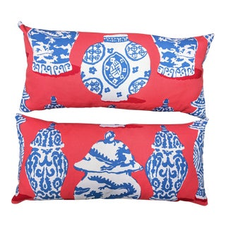 Canton Jars Pillows in Persimmon by Dana Gibson for Stroheim - a Pair For Sale