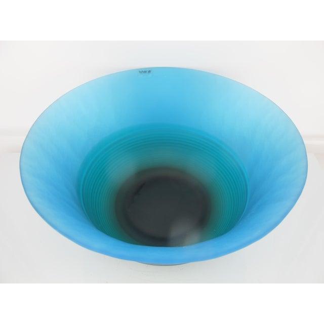 Murano Mid 20th Century Venezia Italian Murano Art Glass Bright Blue Bowl by VeArt For Sale - Image 4 of 7