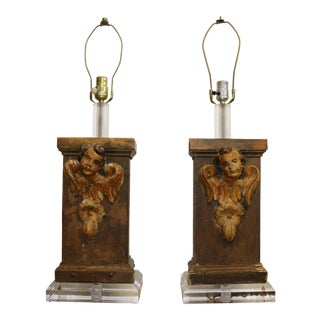 Antique Pair of Angel Lamps With Lucite Accent For Sale