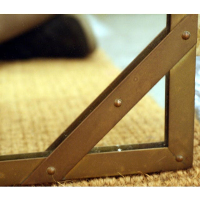 1970s Sarreid Ltd. Studded Square Brass Frame Mirror For Sale - Image 5 of 7