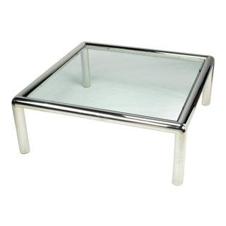 "John Mascheroni ""Tubo"" Polished Aluminum & Glass Coffee Table For Sale"