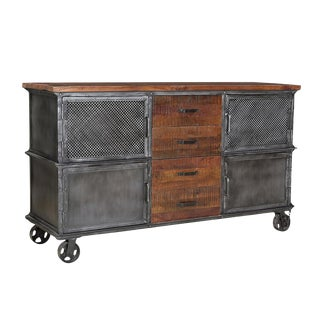 Industrial Wood & Iron Sideboard For Sale