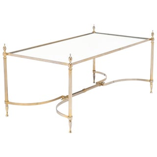 French Neoclassic Mirror Top Brass Cocktail Table