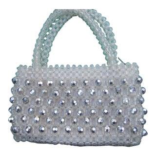 Chic Italian Silver & Clear Plastic Beaded Handbag C 1970 For Sale
