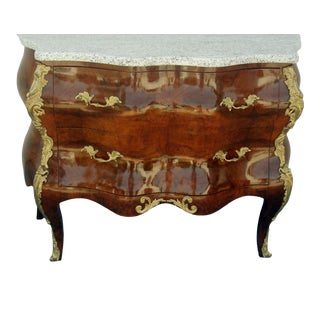 1970's Vintage French Marble Top Bombe Chest For Sale