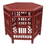 Image of 1970s Chinoiserie Hexagonal Bamboo Coffee Side Table For Sale