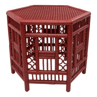 1970s Chinoiserie Hexagonal Bamboo Coffee Side Table For Sale