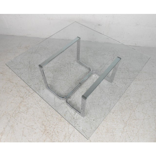 Mid-Century Modern Chrome and Glass Coffee Table For Sale - Image 10 of 11