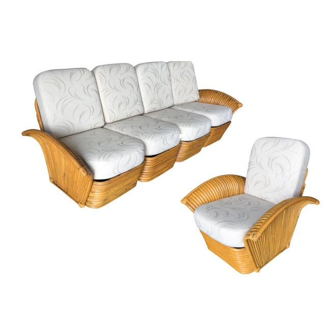 Restored Art Deco Rattan Fan Arm Three-Seat Sofa & Lounge Chair Livingroom Set For Sale - Image 11 of 11
