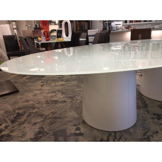 Antares Italian Oval Glass White-Lacquer Base Table Preview