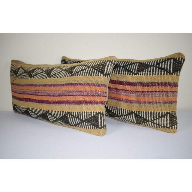 Boho Chic Pair Anatolian Wool Cushion Cover From Anatolian, Ethnic Turkish Decor, Lumbar Kilim Pillow Cover 12'' X 24'' (30 X 60 Cm) For Sale - Image 3 of 6