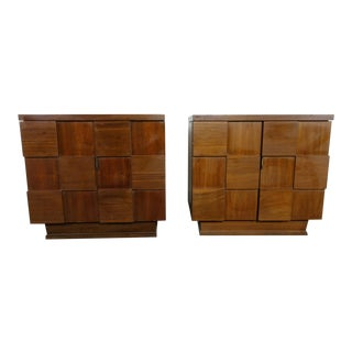 1970s Mid-Century Modern Brutalist Nightstands-a Pair For Sale