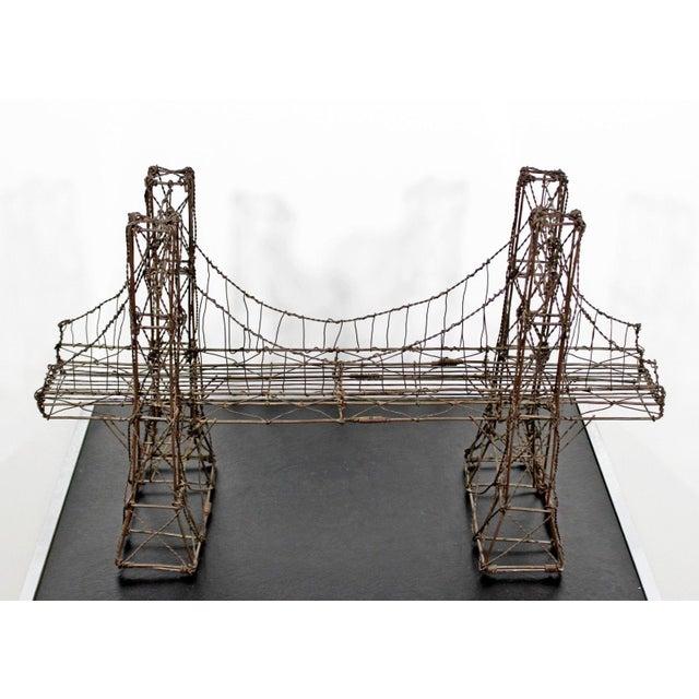 Mid Century Modern Vintage Brutalist Wire Bridge Table Sclupture For Sale - Image 4 of 10