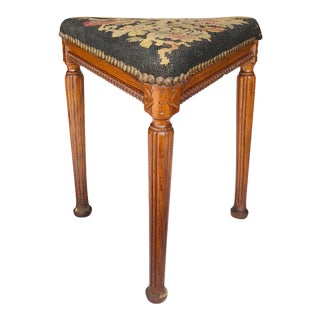 Antique Victorian Farmhouse Needlepoint Carved Walnut Belgian Foot Stool For Sale