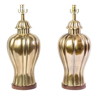 1970's Vintage Frederick Cooper Brass Jar Table Lamps- A Pair For Sale