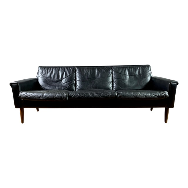 Early 1970s Danish Flared-Arm 3-Seat Sofa For Sale
