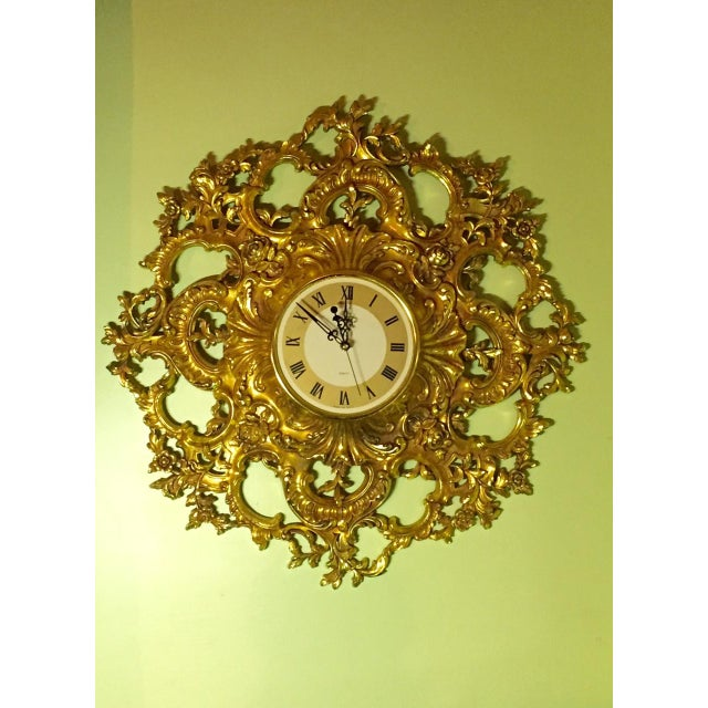 Mid-Century Modern Syroco Gilt Wall Clock - Image 2 of 7